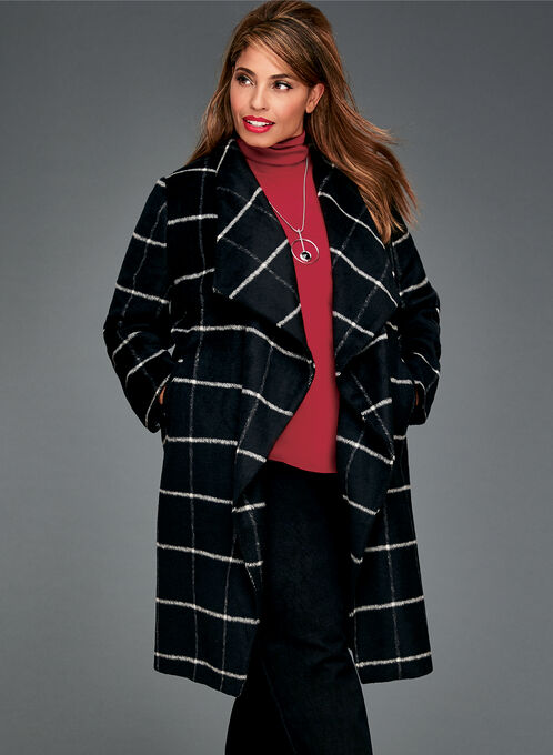 Square Print Open Front Coat