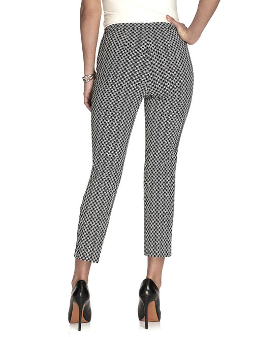 Diamond Print Cropped Pants, Black, hi-res