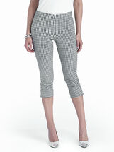 Gingham Straight Leg Capris, Black, hi-res