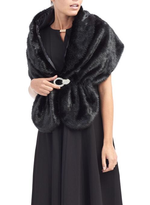 Faux Fur Rhinstone Stole , Black, hi-res