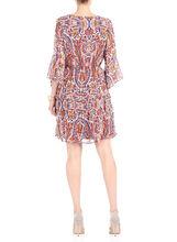 3/4 Sleeve Printed Blouson Dress, Brown, hi-res