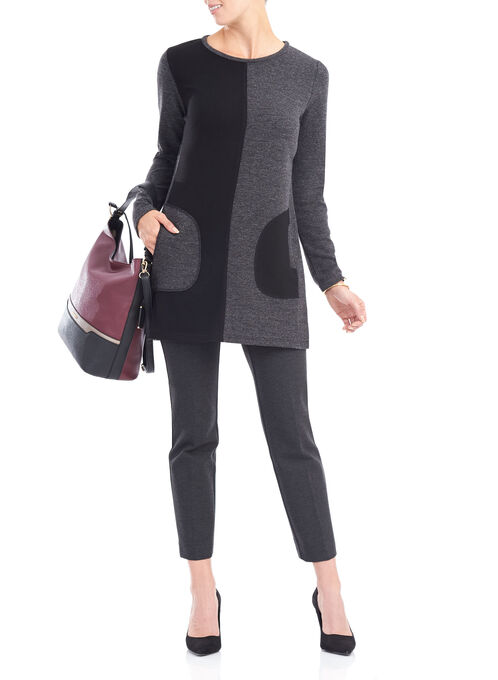 Long Sleeve Colour Block Tunic, Grey, hi-res