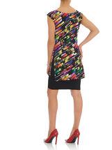 Sleeveless Printed Fooler Dress, Black, hi-res