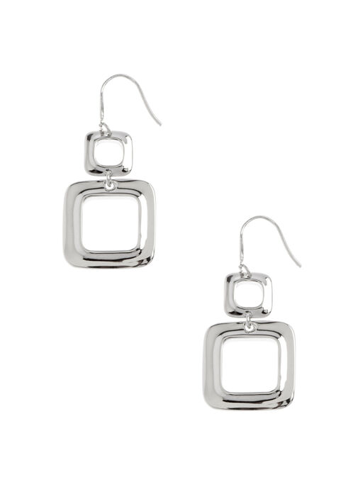 Open Double Square Earrings, Silver, hi-res