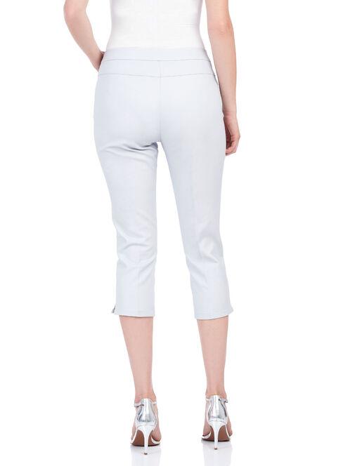 Zipper Trim Capri Pants , Grey, hi-res