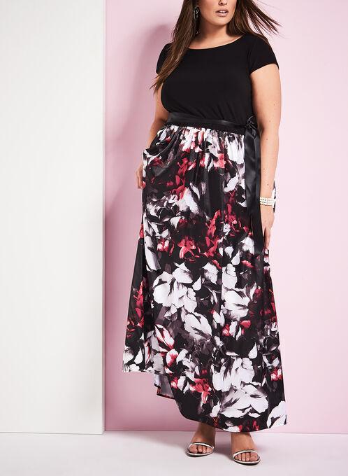 Jersey Floral Print Gown , Black, hi-res