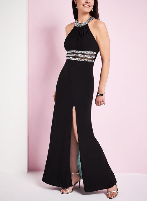 Beaded Cleo Neck Jersey Gown , Black, hi-res