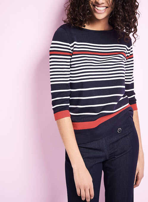 3/4 Sleeve Stripe Print Sweater, Blue, hi-res