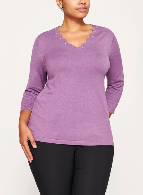 Embellished Neck Sweater, Purple, hi-res