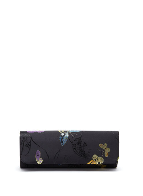 Embroidered Flapover Clutch , Black, hi-res