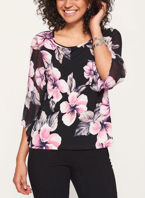 Floral Print Illusion Sleeve Top, Black, hi-res