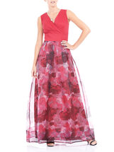 Sleeveless Printed Organza Gown , Red, hi-res