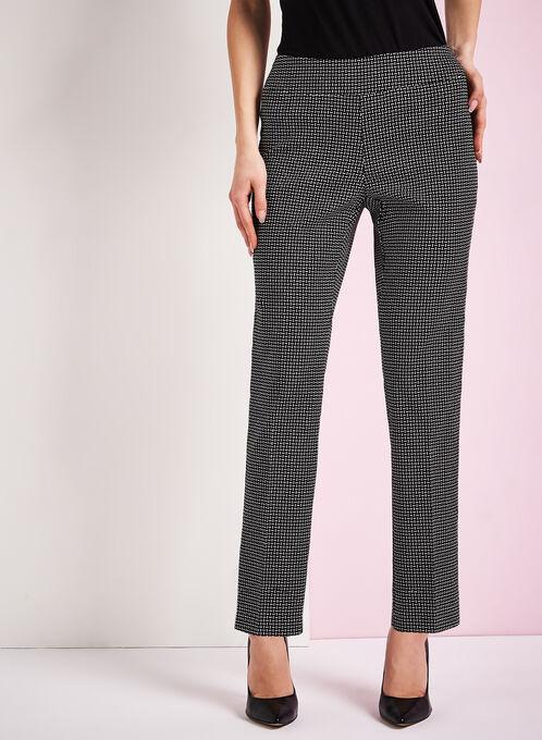 Graphic Print Slim Leg 7/8 Pants, Black, hi-res