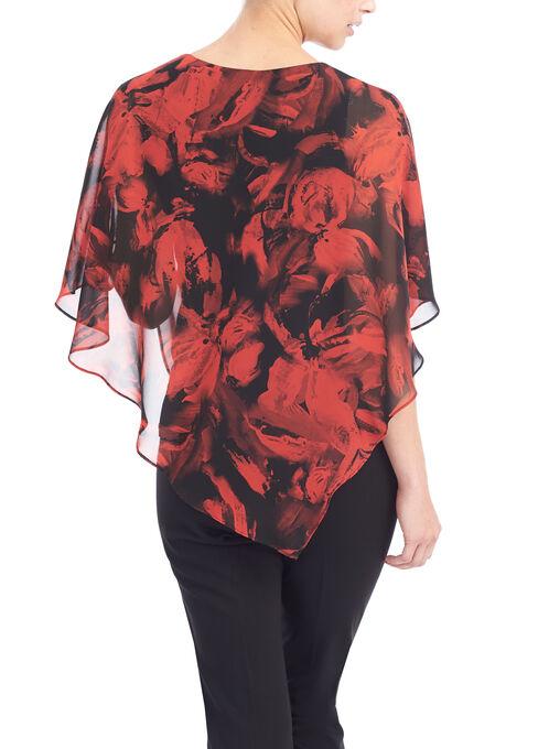 Floral Print Popover Blouse , Black, hi-res