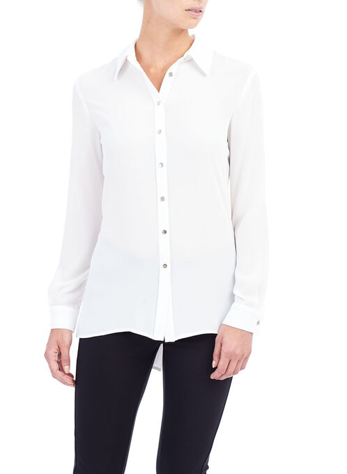 Long Sleeve Notch Collar Blouse , Off White, hi-res