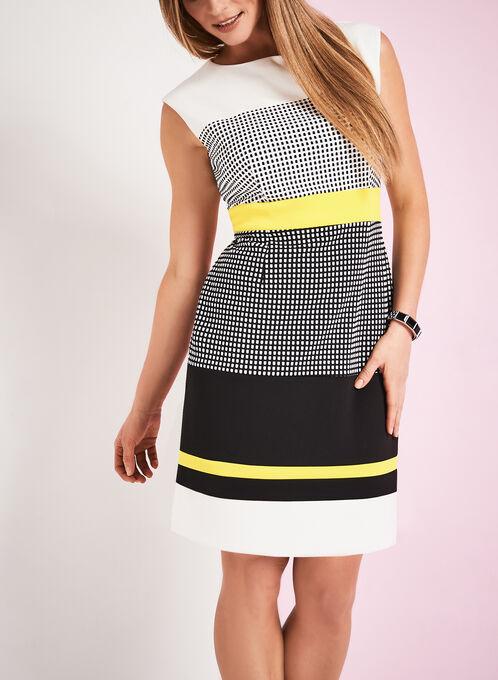 Crêpe Check Print Dress, White, hi-res