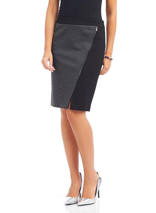 Knit Exposed Zipper Skirt , White, hi-res