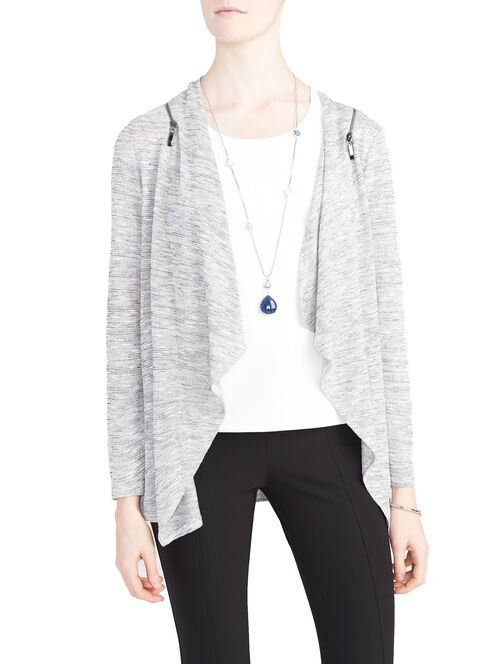 Zip Shoulder Club Knit Cardigan, Grey, hi-res