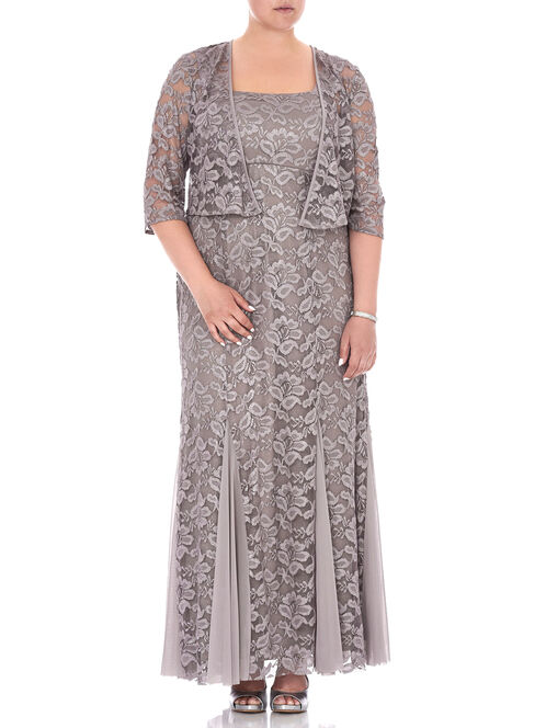 Two Piece Lace & Chiffon Gown , Brown, hi-res