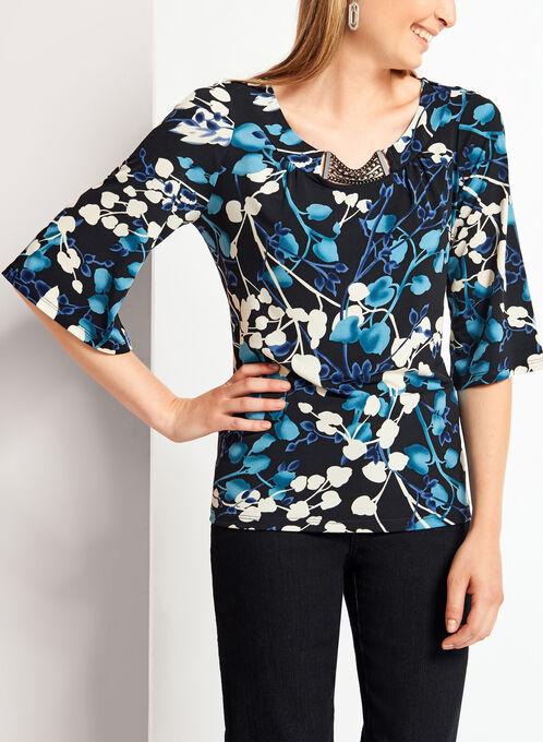 3/4 Split Sleeve Floral Print Chain Top , Blue, hi-res