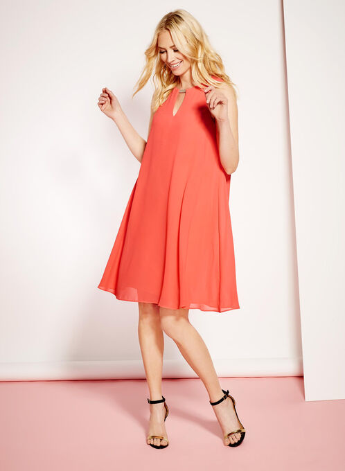 Keyhole Neck Trapeze Dress, Red, hi-res