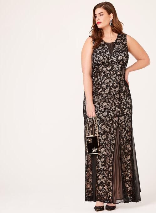 Sequin Lace Mermaid Gown, Black, hi-res