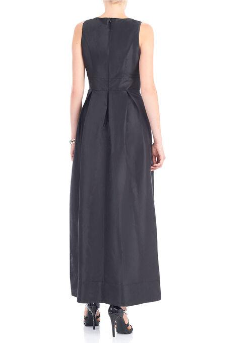 Sleeveless Pearl Trim Taffeta Gown , Black, hi-res