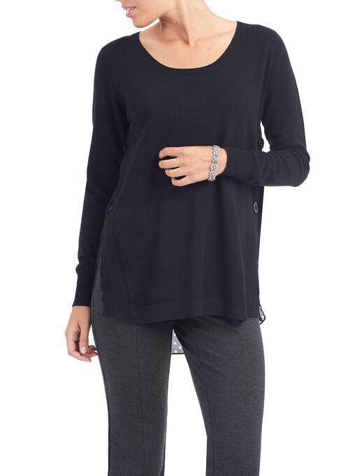 Side Slit Fooler Sweater, Black, hi-res