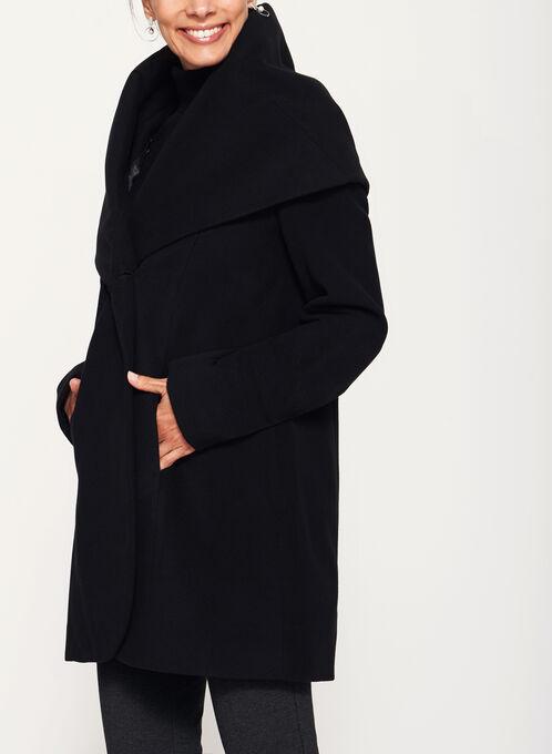 Shawl Neck Topper Coat , Black, hi-res