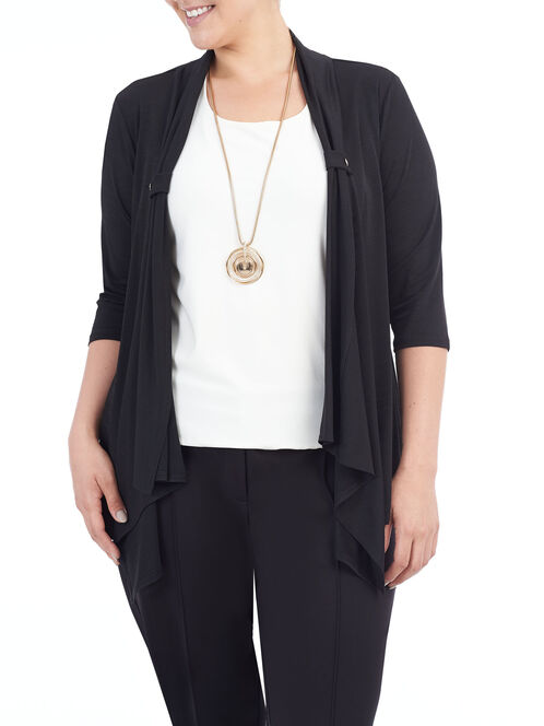 3/4 Sleeve Drape Front Cover-Up, Black, hi-res
