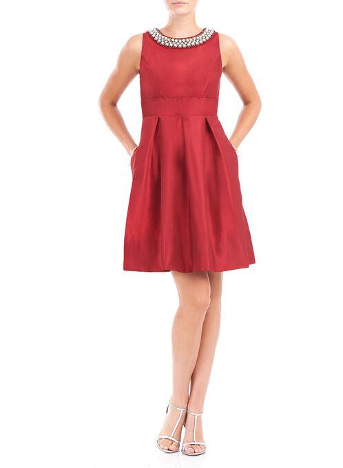 Taffeta Pearl Trim Fit & Flare Dress, Red, hi-res