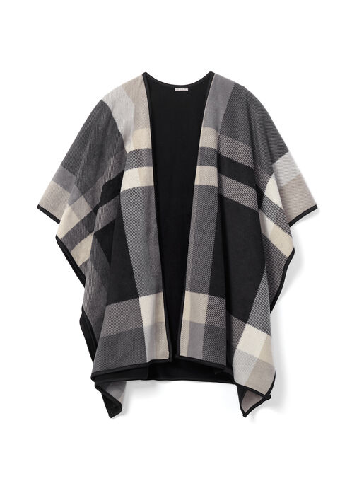 Plaid Print Poncho , Grey, hi-res