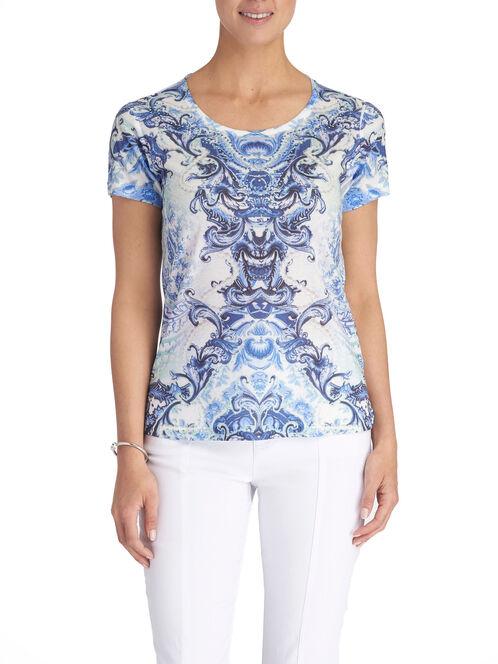Mirror Scroll Print T-Shirt, Blue, hi-res
