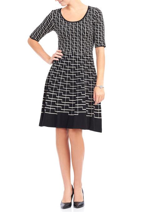 Abstract Print Knit Sweater Dress, Black, hi-res