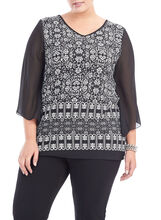 Tulip Sleeve Tunic Top, Black, hi-res