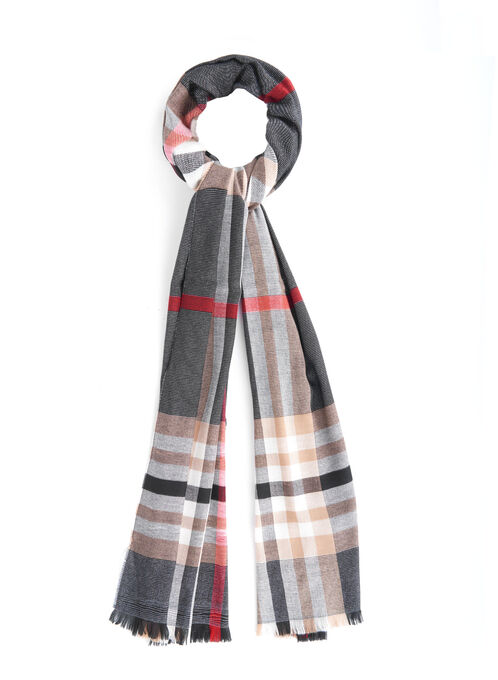 Lurex Plaid Print Pashmina Scarf, Black, hi-res