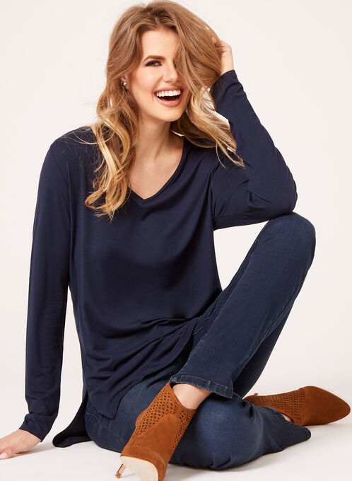 V-Neck Long Sleeve Top, Blue, hi-res