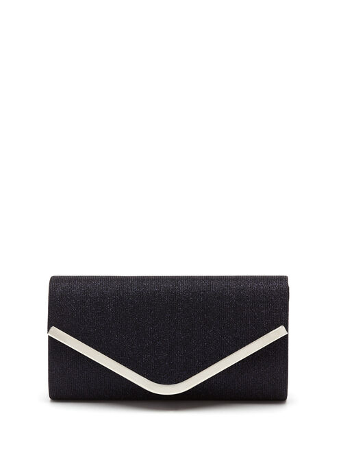 Metallic Trim Glitter Envelope Clutch  , Blue, hi-res