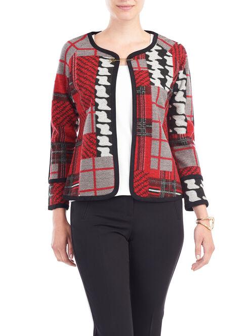 Plaid Patchwork Jacket, Red, hi-res