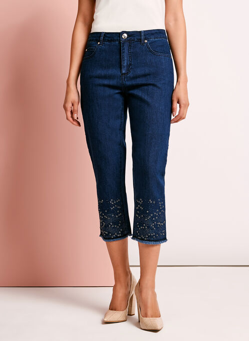 Simon Chang - Embellished Denim Capris, Blue, hi-res