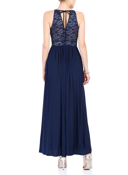 Sleeveless Sequined Halter Neck Gown, Blue, hi-res