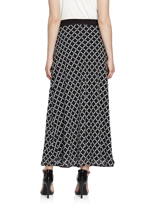 Windowpane Print Chiffon Maxi Skirt, Black, hi-res