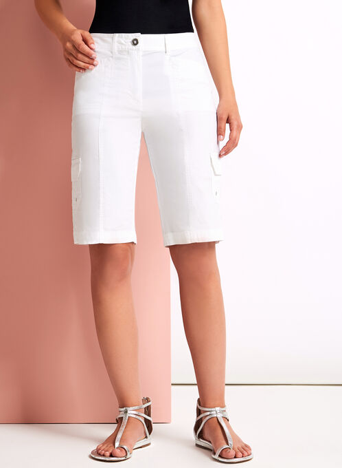 Modern Fit Cargo Shorts, White, hi-res