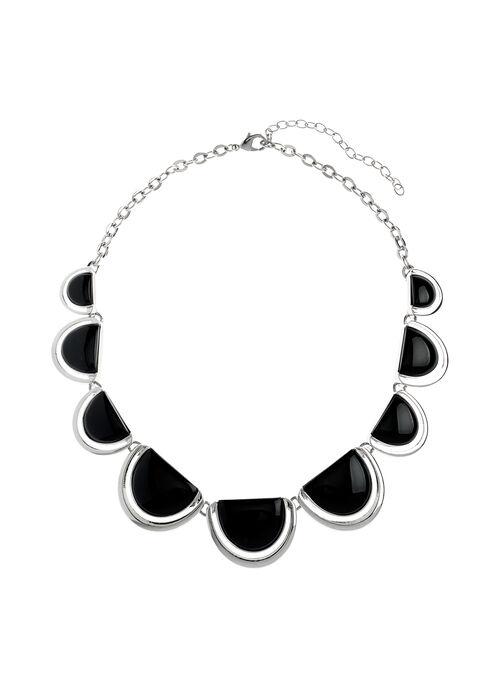 Half Moon Necklace, Black, hi-res