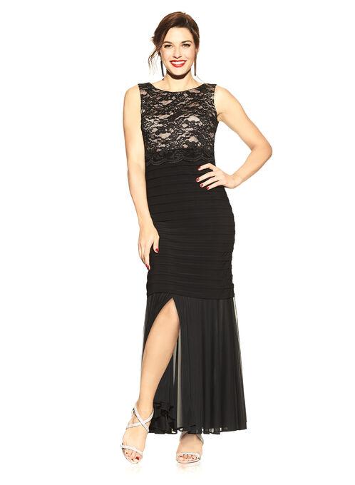 Glitter Lace Shutter Dress, Black, hi-res