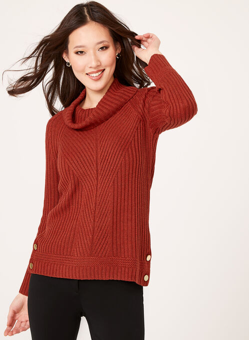 Embellished Cowl Neck Ribbed Sweater, Brown, hi-res