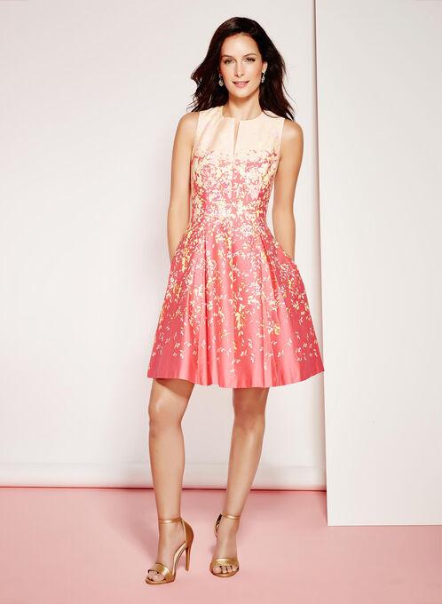 Floral Fit & Flare Cotton Dress, Orange, hi-res