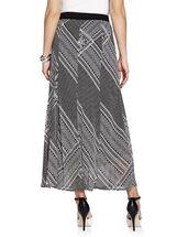Tile Print Chiffon Maxi Skirt, Black, hi-res