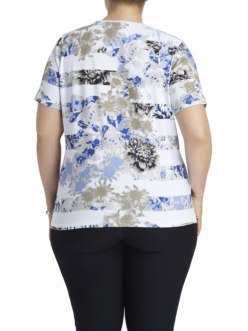 Scoop Neck Floral Print T-Shirt, Blue, hi-res