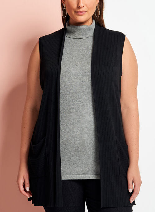 Sleeveless Knit Cardigan, Black, hi-res